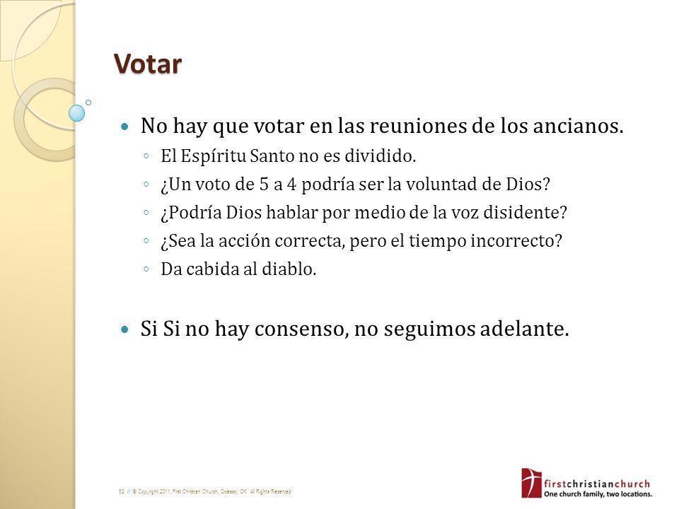 Votar No hay que votar en las reuniones de los ancianos.