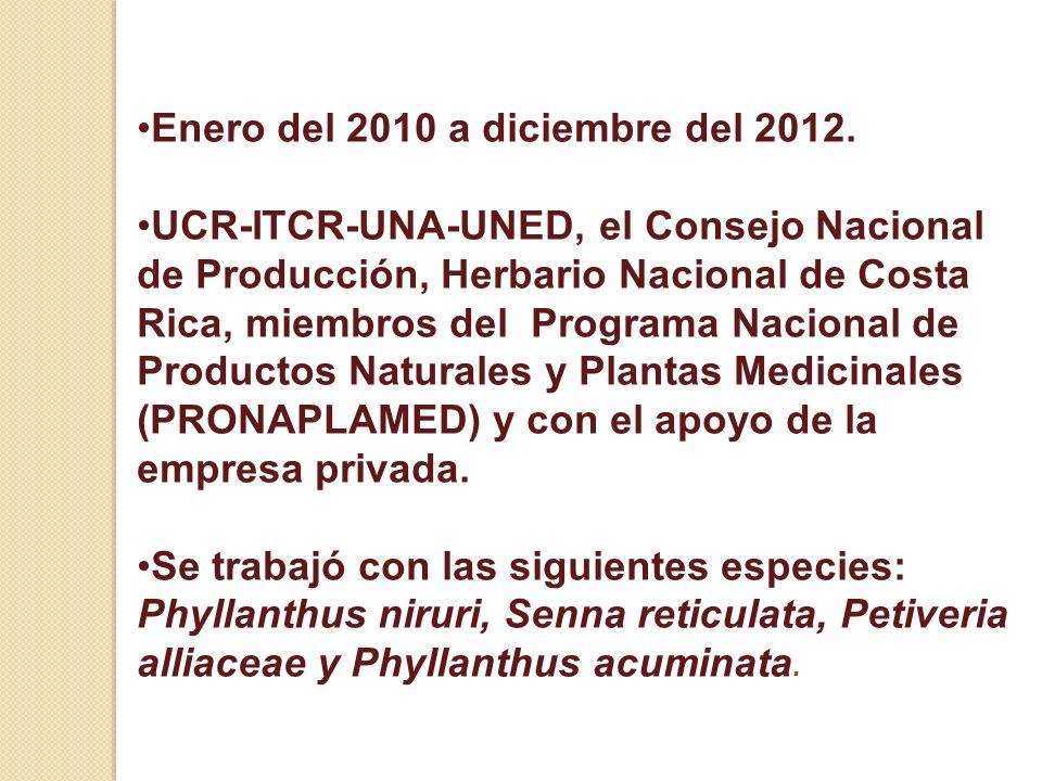 Enero del 2010 a diciembre del 2012.