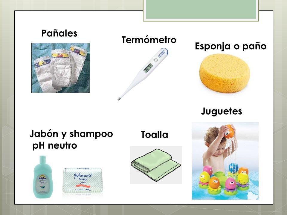 Pañales Termómetro Esponja o paño Juguetes Jabón y shampoo pH neutro Toalla