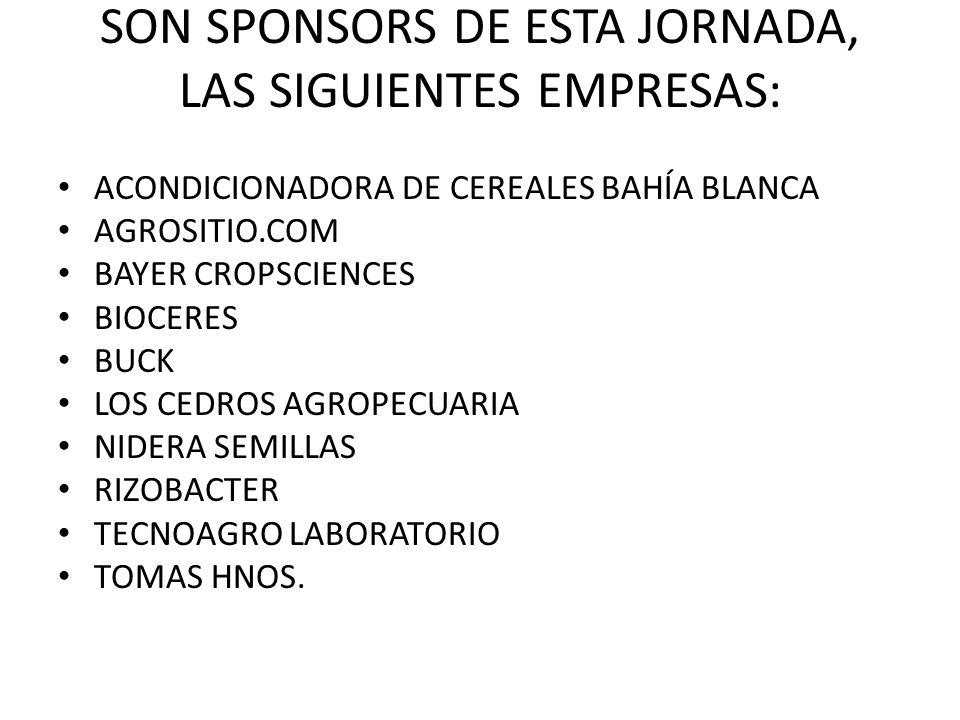 SON SPONSORS DE ESTA JORNADA, LAS SIGUIENTES EMPRESAS: