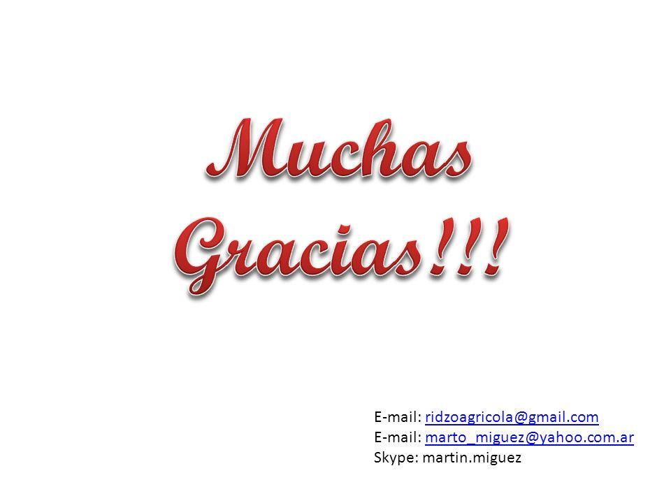 Muchas Gracias!!! E-mail: ridzoagricola@gmail.com