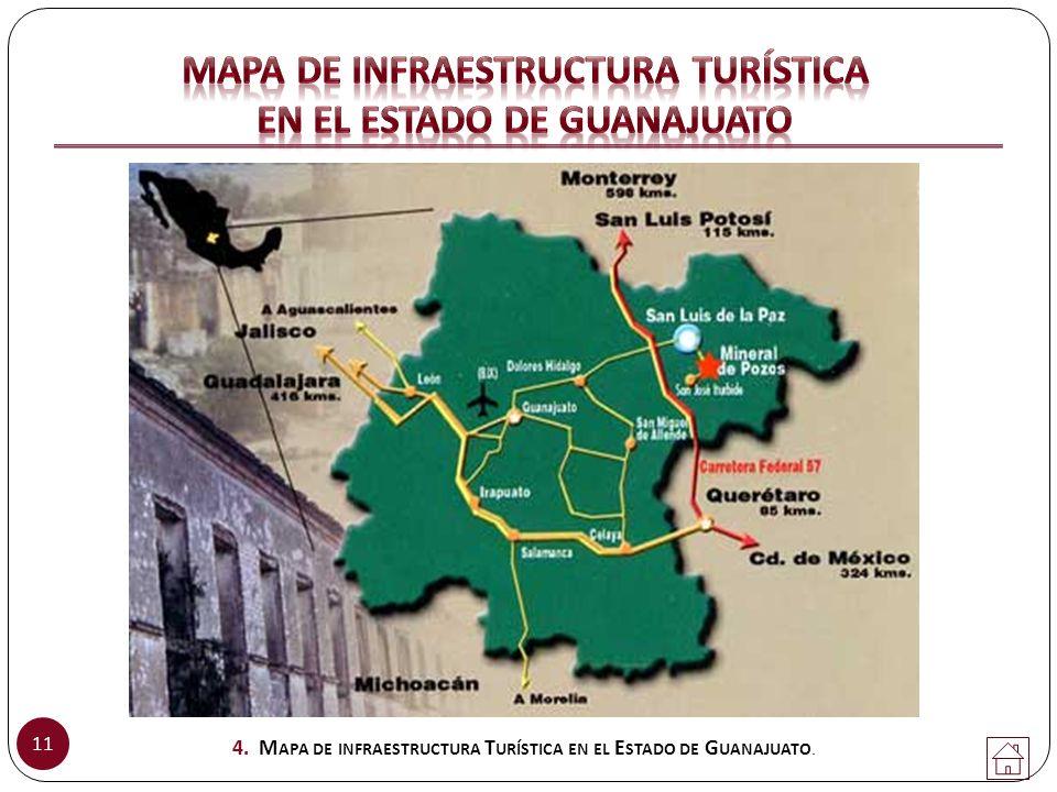 MAPA DE INFRAESTRUCTURA TURÍSTICA EN EL ESTADO DE GUANAJUATO