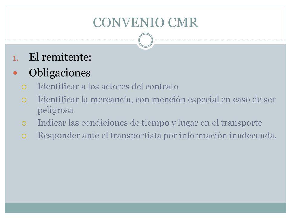 CONVENIO CMR El remitente: Obligaciones
