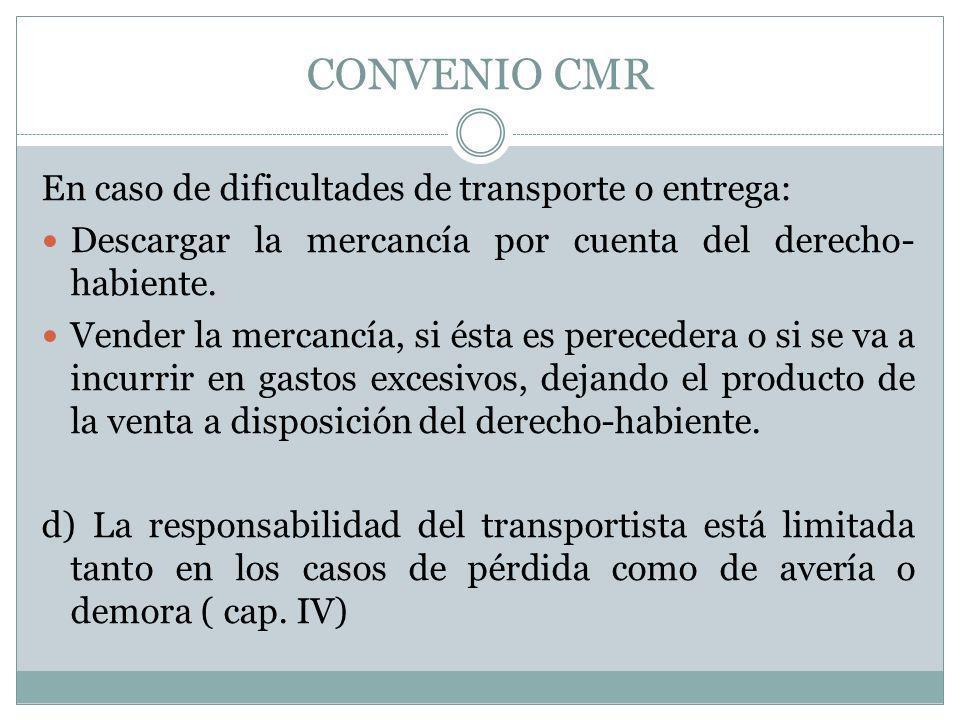 CONVENIO CMR En caso de dificultades de transporte o entrega: