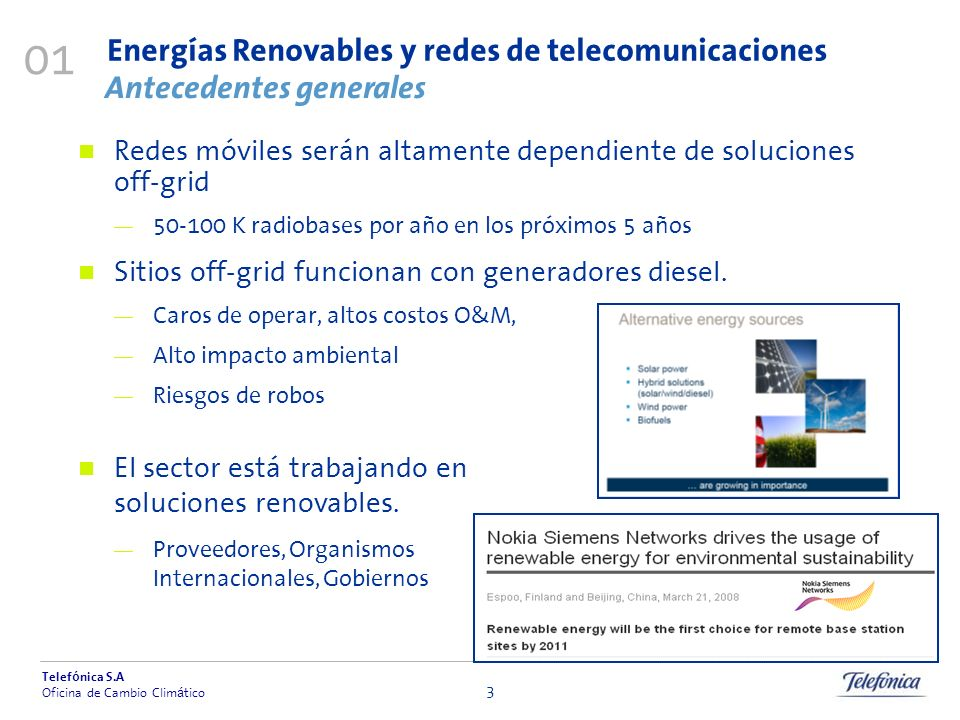 Energías Renovables y redes de telecomunicaciones