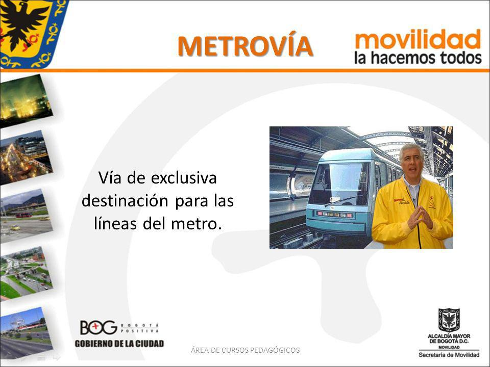 METROVÍA Vía de exclusiva destinación para las líneas del metro.