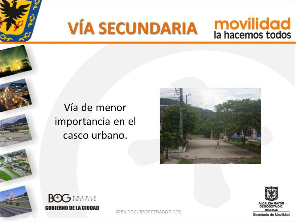 VÍA SECUNDARIA Vía de menor importancia en el casco urbano.