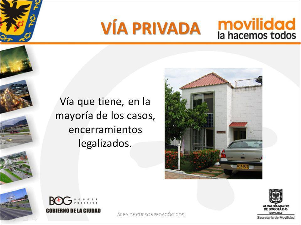 VÍA PRIVADA Vía que tiene, en la mayoría de los casos, encerramientos legalizados.