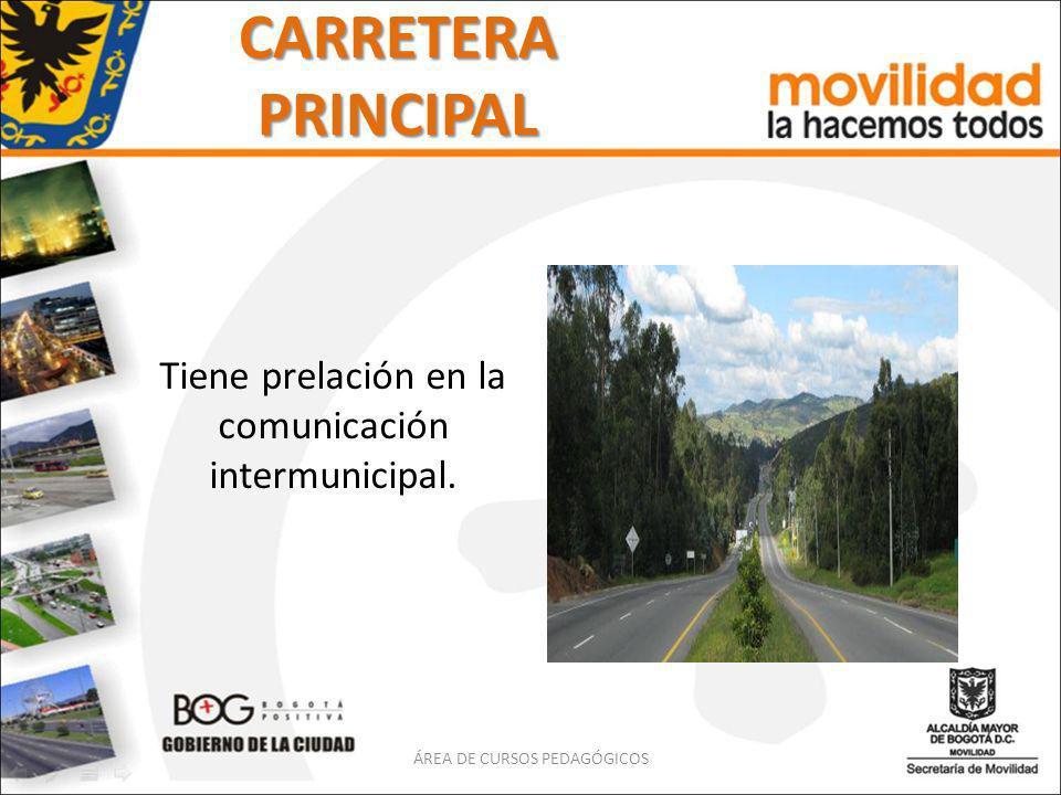CARRETERA PRINCIPAL Tiene prelación en la comunicación intermunicipal.