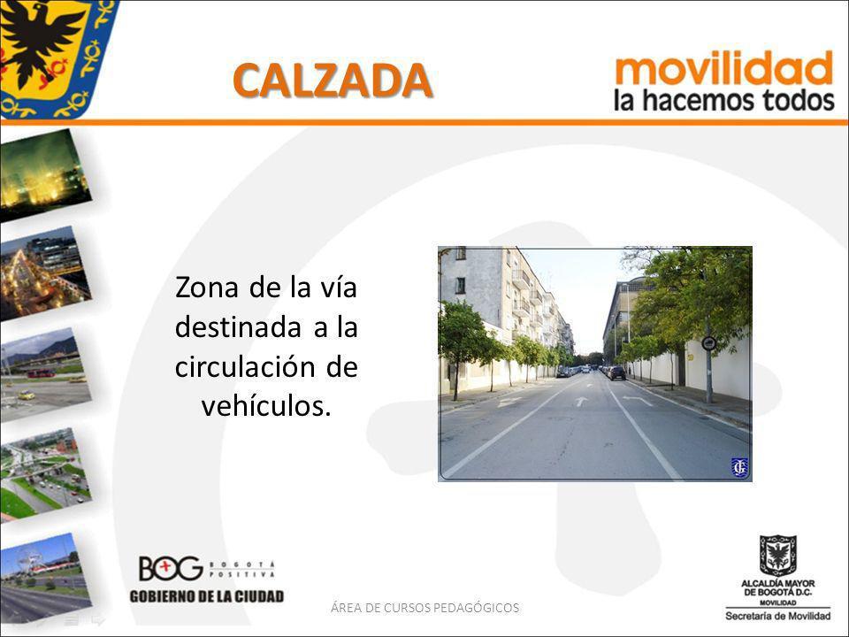 CALZADA Zona de la vía destinada a la circulación de vehículos.