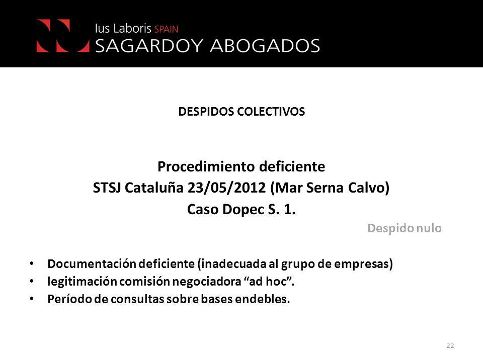Procedimiento deficiente STSJ Cataluña 23/05/2012 (Mar Serna Calvo)