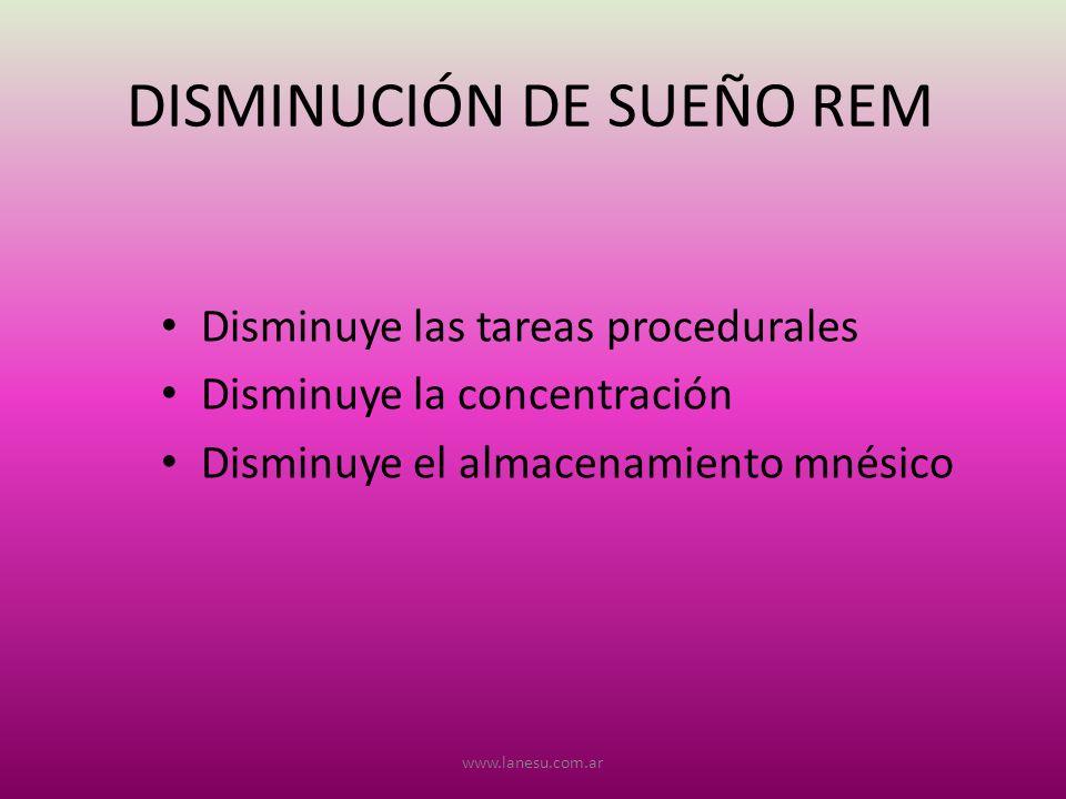 DISMINUCIÓN DE SUEÑO REM
