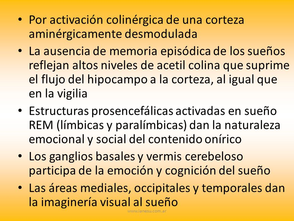 Por activación colinérgica de una corteza aminérgicamente desmodulada