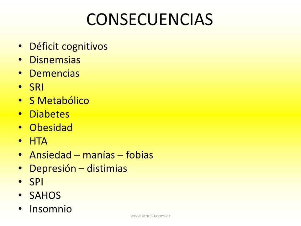 CONSECUENCIAS Déficit cognitivos Disnemsias Demencias SRI S Metabólico