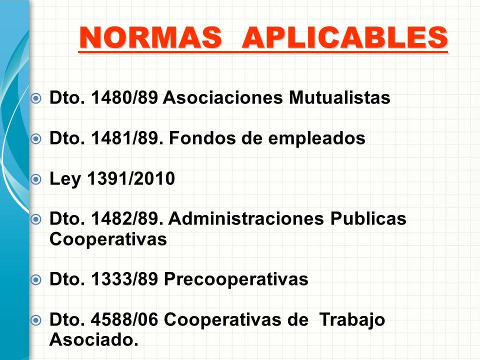 NORMAS APLICABLES Dto. 1480/89 Asociaciones Mutualistas