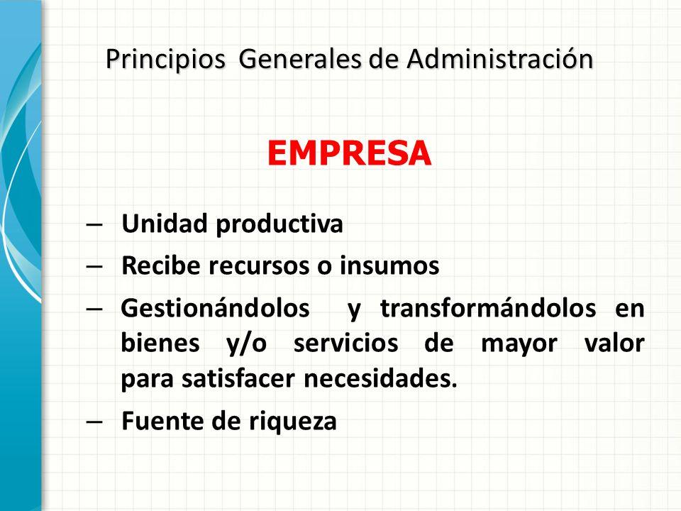 Principios Generales de Administración