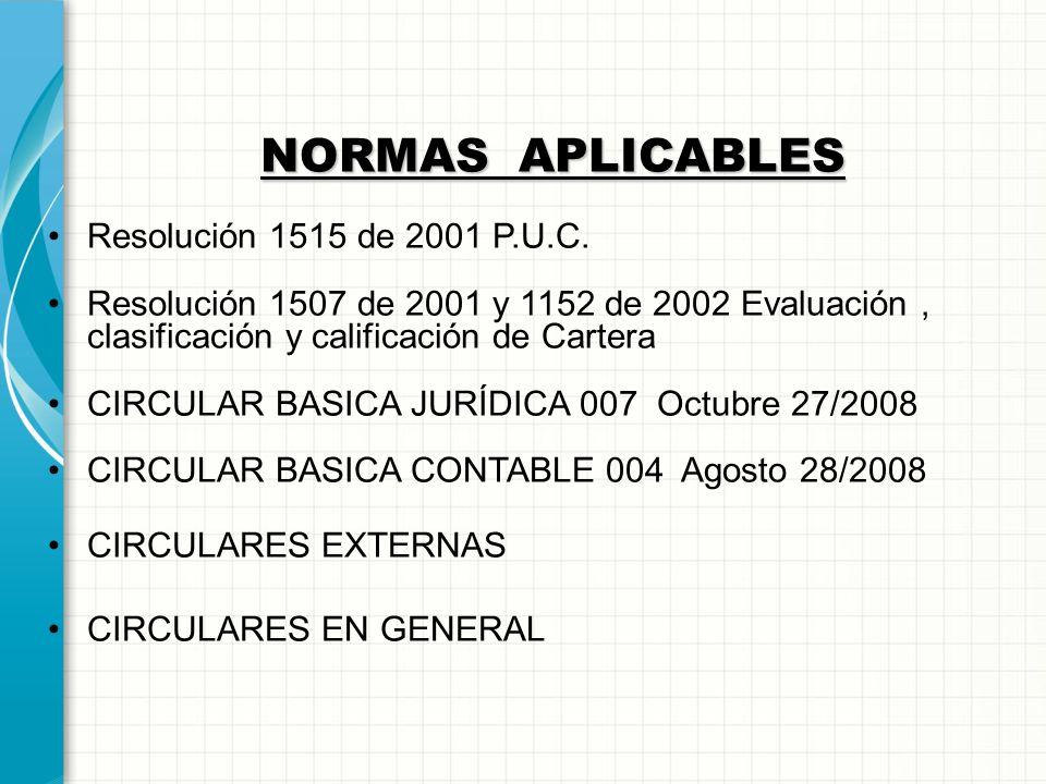 NORMAS APLICABLES Resolución 1515 de 2001 P.U.C.