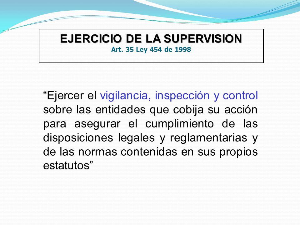 EJERCICIO DE LA SUPERVISION Art. 35 Ley 454 de 1998