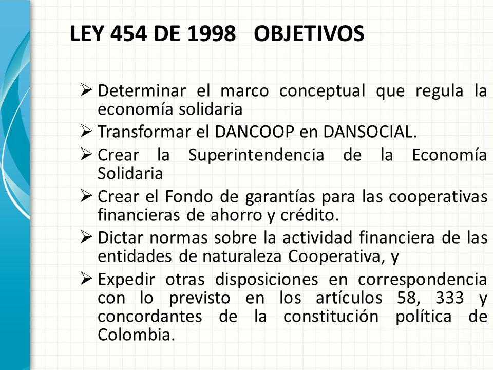 LEY 454 DE 1998 OBJETIVOS Determinar el marco conceptual que regula la economía solidaria. Transformar el DANCOOP en DANSOCIAL.