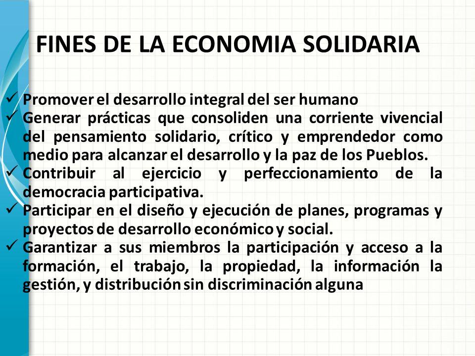 FINES DE LA ECONOMIA SOLIDARIA