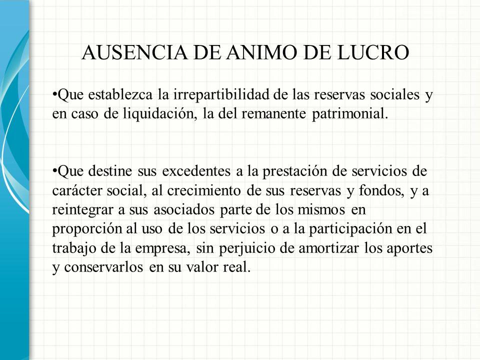 AUSENCIA DE ANIMO DE LUCRO