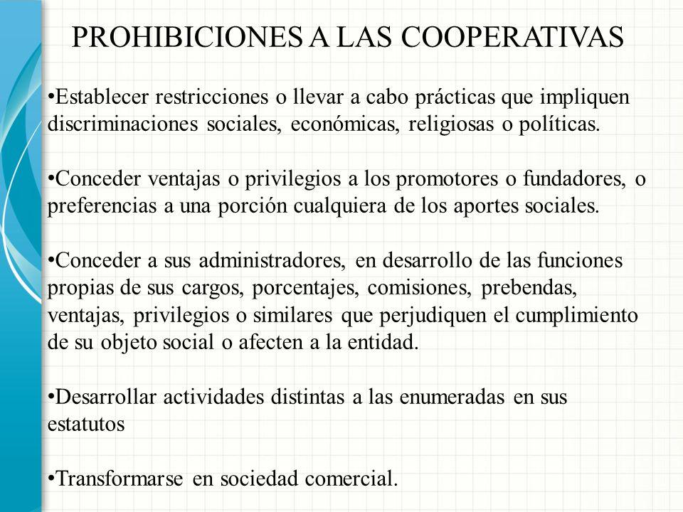 PROHIBICIONES A LAS COOPERATIVAS
