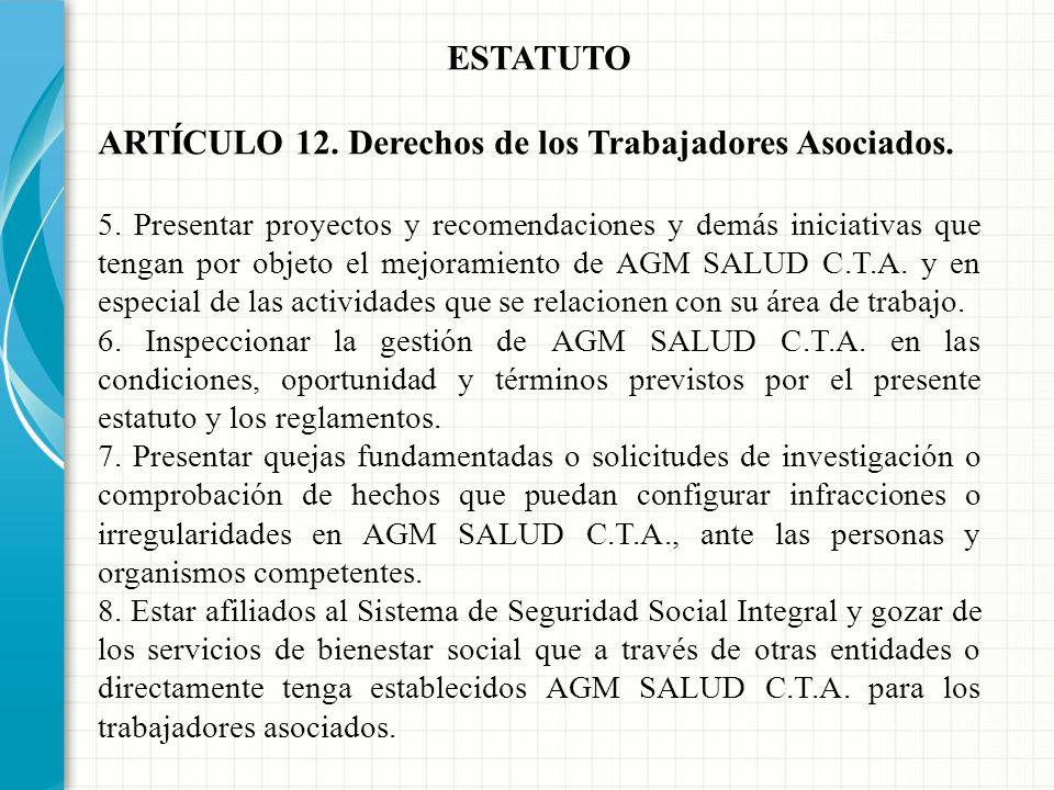 ARTÍCULO 12. Derechos de los Trabajadores Asociados.