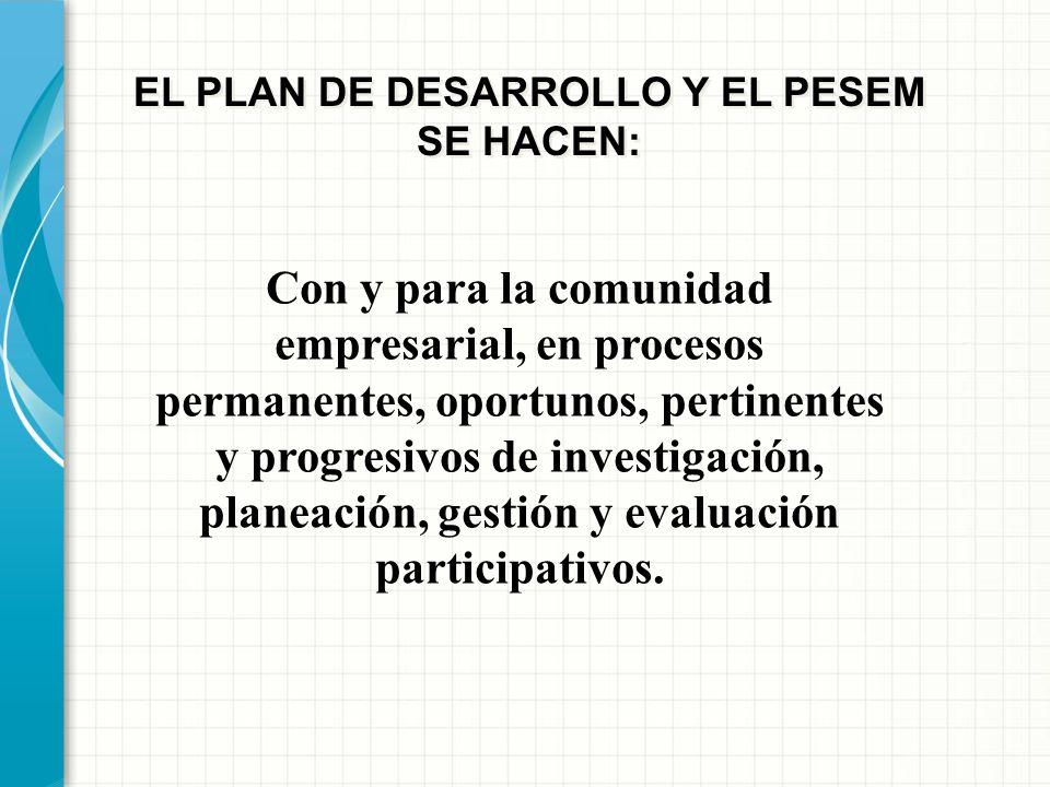 EL PLAN DE DESARROLLO Y EL PESEM SE HACEN: