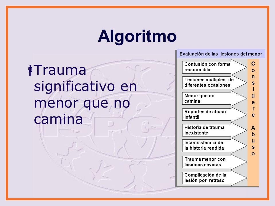 Algoritmo Trauma significativo en menor que no camina