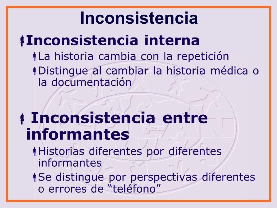 Inconsistencia Inconsistencia interna Inconsistencia entre informantes