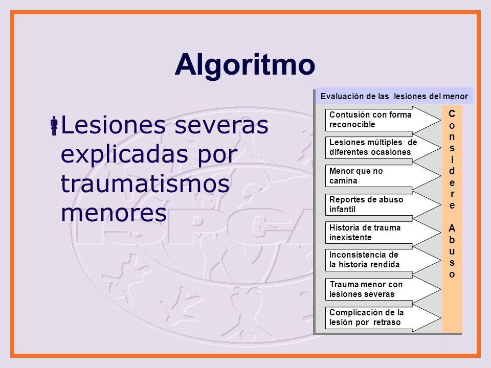 Algoritmo Lesiones severas explicadas por traumatismos menores