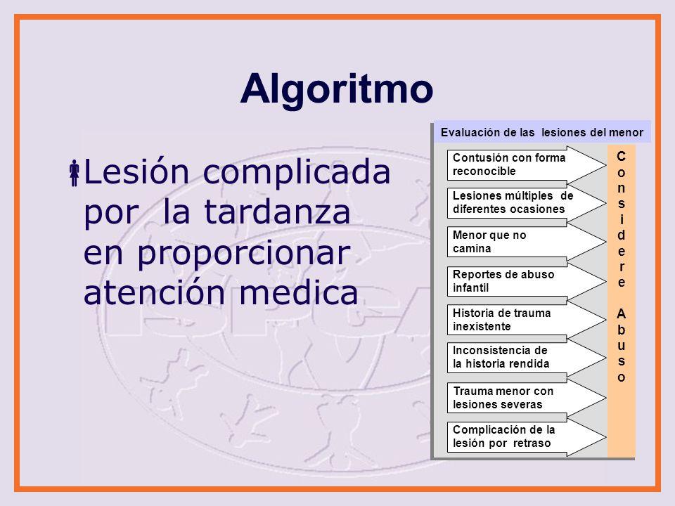 Algoritmo Evaluación de las lesiones del menor. Lesión complicada por la tardanza en proporcionar atención medica.