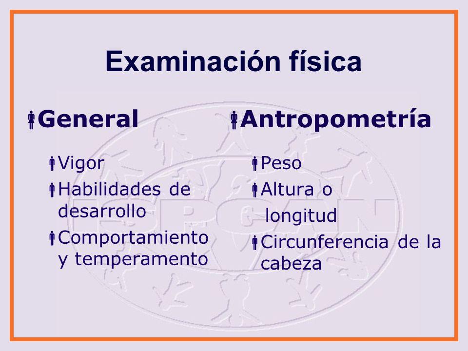 Examinación física General Antropometría Vigor
