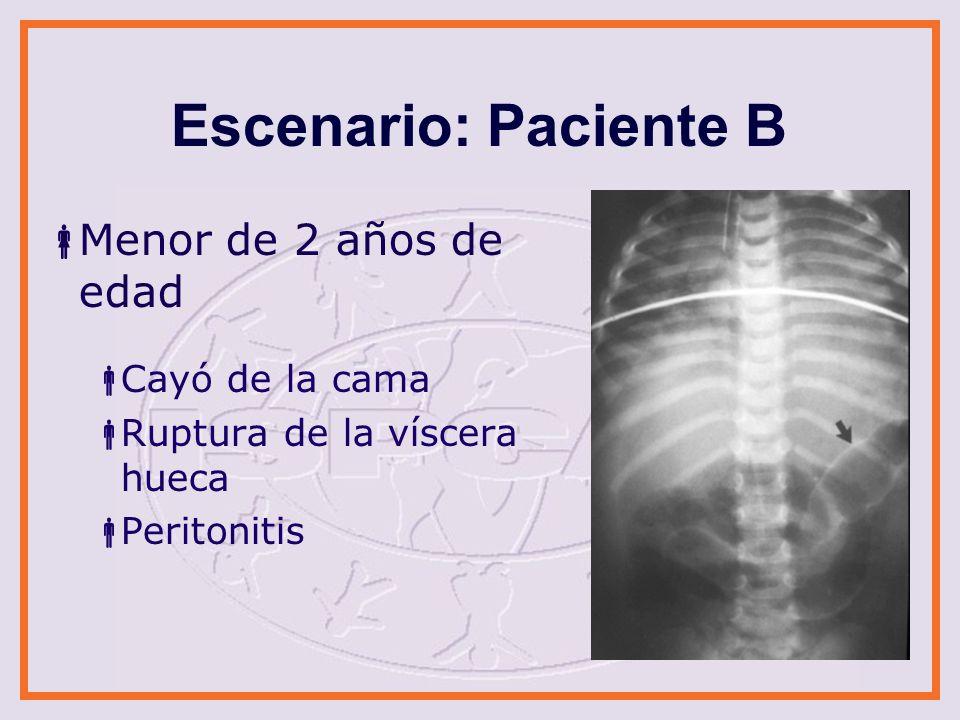 Escenario: Paciente B Menor de 2 años de edad Cayó de la cama