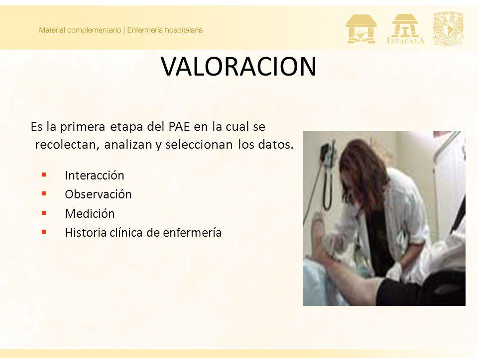 VALORACION Es la primera etapa del PAE en la cual se recolectan, analizan y seleccionan los datos. Interacción.