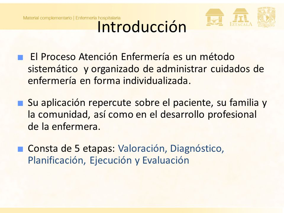 Introducción El Proceso Atención Enfermería es un método sistemático y organizado de administrar cuidados de enfermería en forma individualizada.