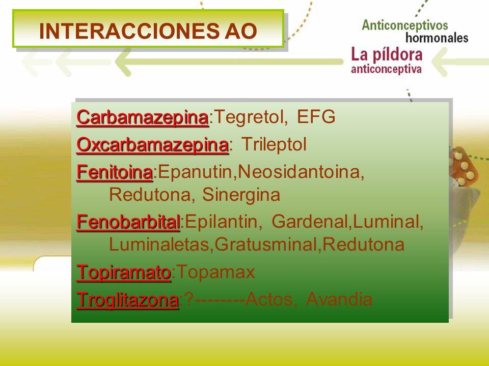INTERACCIONES AO Carbamazepina:Tegretol, EFG
