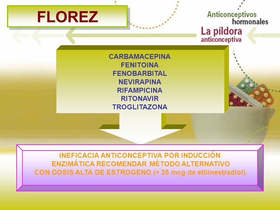 FLOREZ CARBAMACEPINA FENITOINA FENOBARBITAL NEVIRAPINA RIFAMPICINA