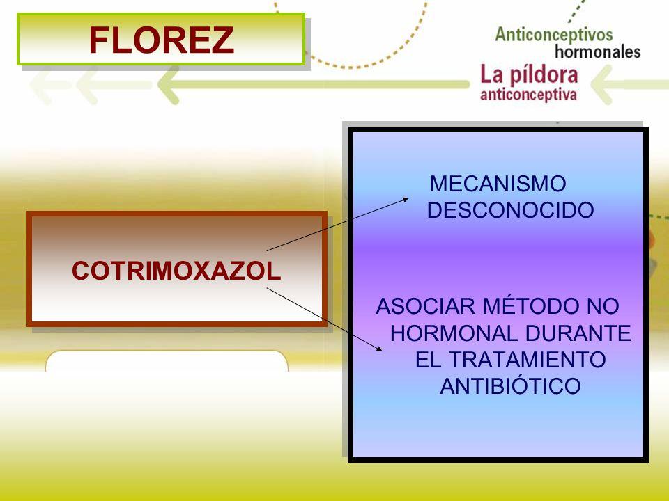 FLOREZ COTRIMOXAZOL MECANISMO DESCONOCIDO