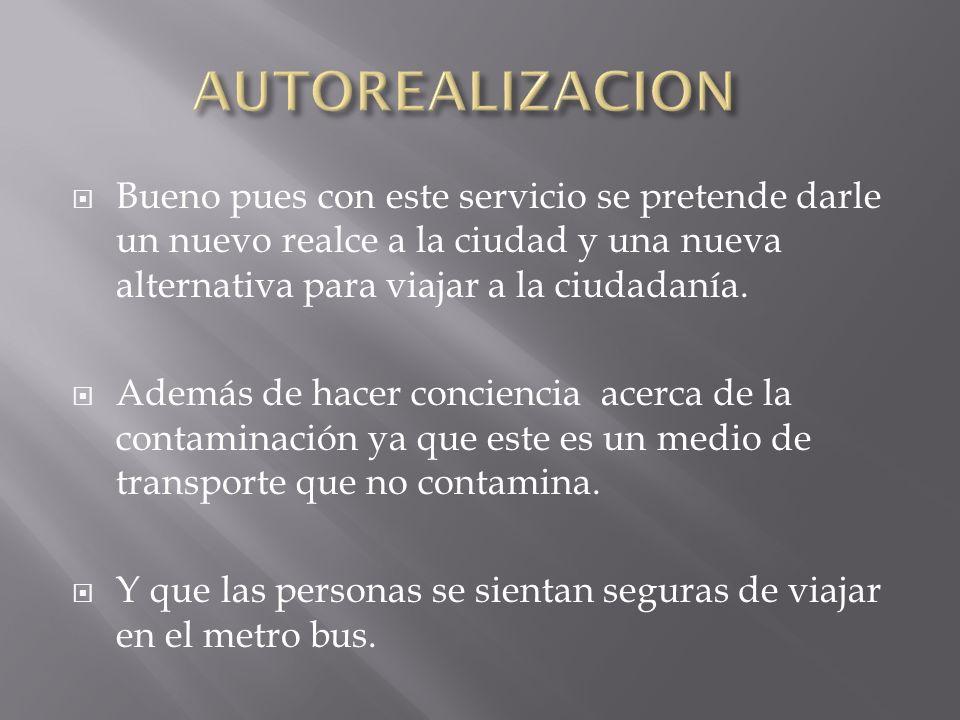 AUTOREALIZACION Bueno pues con este servicio se pretende darle un nuevo realce a la ciudad y una nueva alternativa para viajar a la ciudadanía.