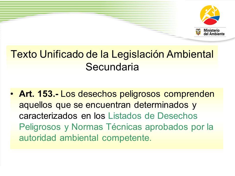 Texto Unificado de la Legislación Ambiental Secundaria