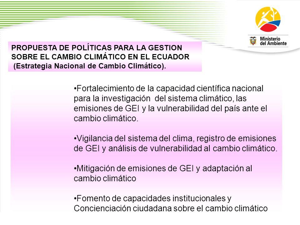 Mitigación de emisiones de GEI y adaptación al cambio climático