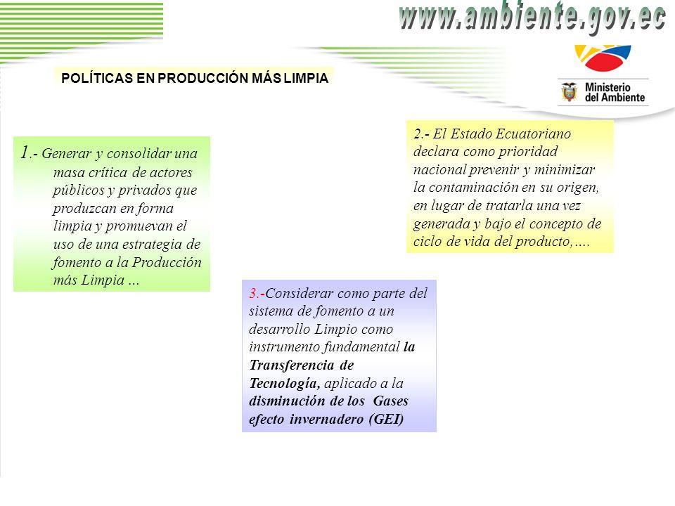 www.ambiente.gov.ec POLÍTICAS EN PRODUCCIÓN MÁS LIMPIA.