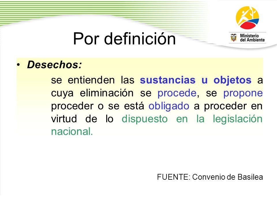 Por definición Desechos: