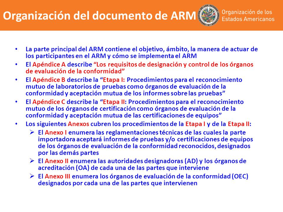 Organización del documento de ARM