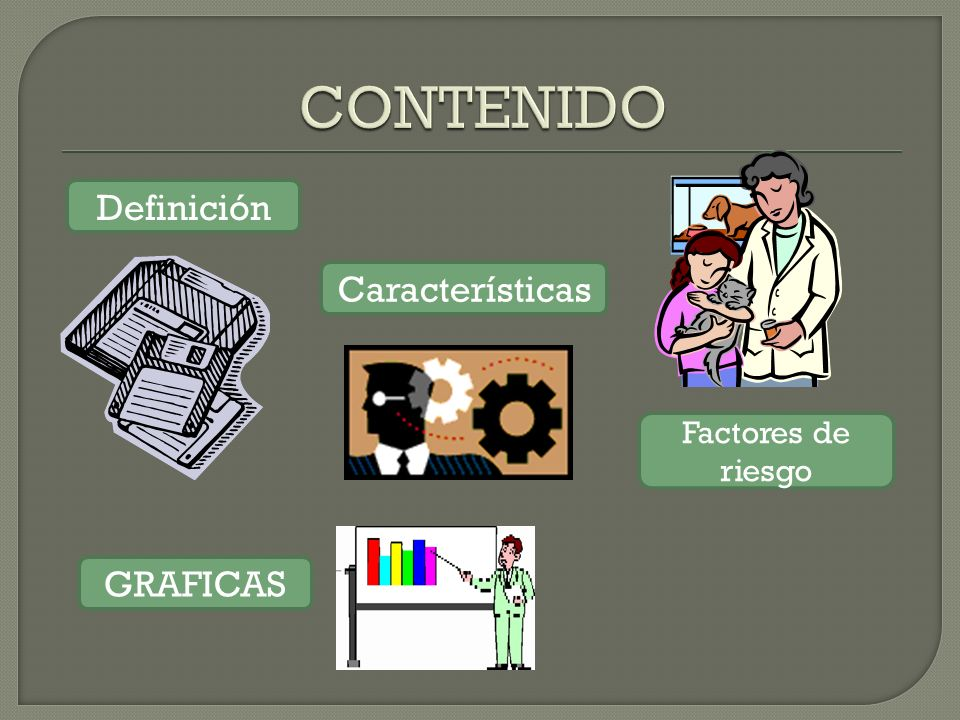CONTENIDO Definición Características Factores de riesgo GRAFICAS