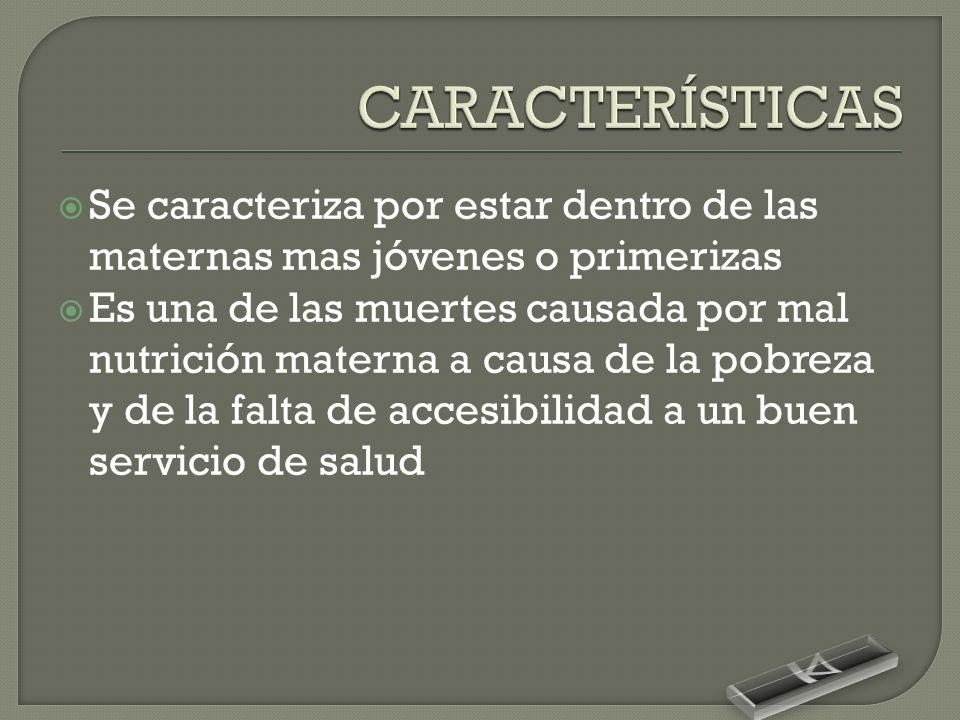 CARACTERÍSTICAS Se caracteriza por estar dentro de las maternas mas jóvenes o primerizas.