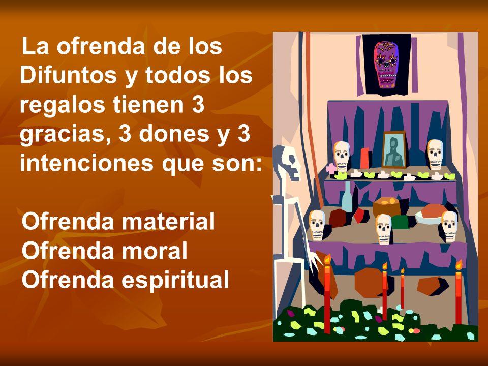 La ofrenda de los Difuntos y todos los regalos tienen 3 gracias, 3 dones y 3 intenciones que son: