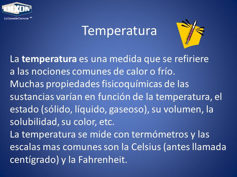 Temperatura La temperatura es una medida que se refiriere