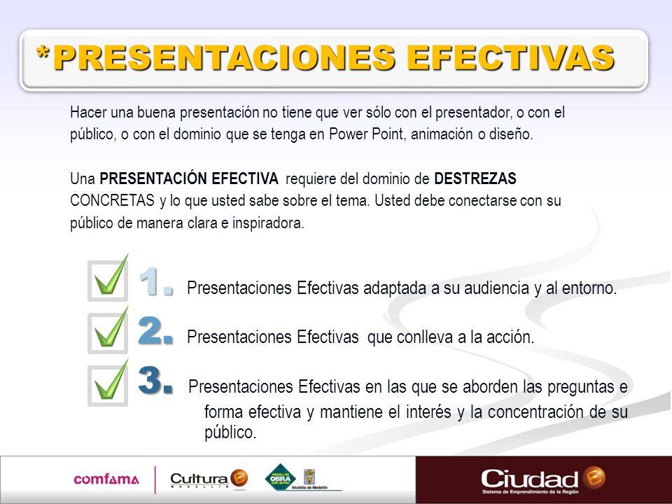 1. Presentaciones Efectivas adaptada a su audiencia y al entorno.